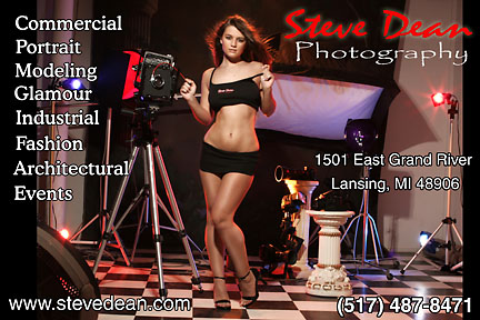 Steve Dean Photography is a full service photographic studio. Located in Lansing, Michigan. We offer a wide range of services for commercial and personal clients. Including Maternity, Glamour, and Boudoir photos.